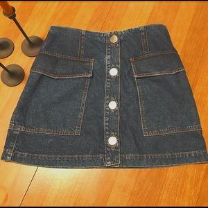 Topshop Moto Button Jean Skirt
